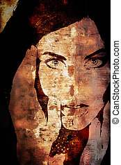 Grunge wall with woman's face