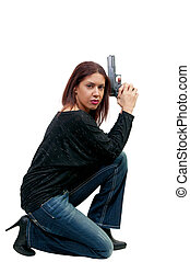 Woman Cop with Gun - A young and beautiful woman police...