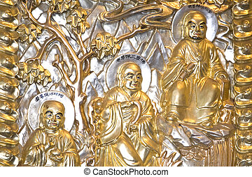 Copper Tooled Three Wise Men - The famed Chinese Three Wise...