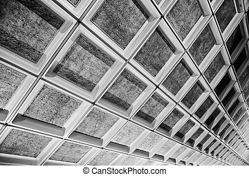 ceiling - Gray square shaped ceiling in public places.