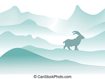 winter mountains with mountain goat