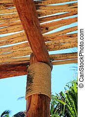 palapa tropical Mexico wood cabin roof detail - palapa...