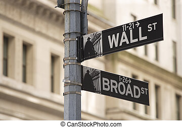 Wall street sign - Photo of the Wall Street sign in New York...