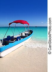 boat tropical beach Caribbean turquoise sea