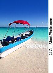 綠松石, 加勒比海, 熱帶, 海, 海灘, 小船