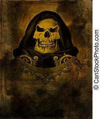 stary, papier, czaszka