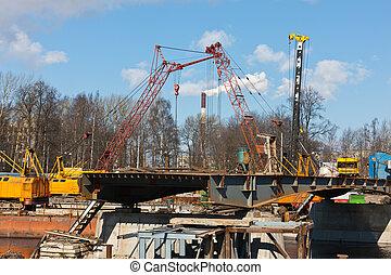 Puente, construcción, nuevo