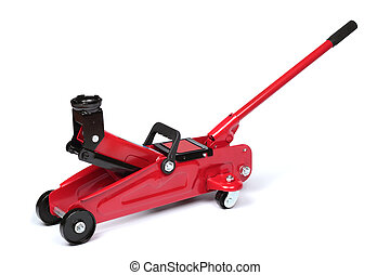 Hydraulic floor jack - Red hydraulic floor jack isolated on...