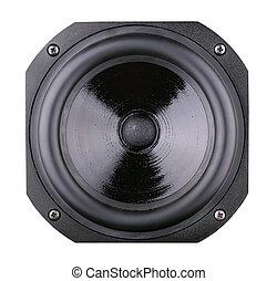 Loudspeaker isolated on white background - Black...