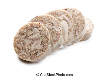 sliced headcheese sausage on white background