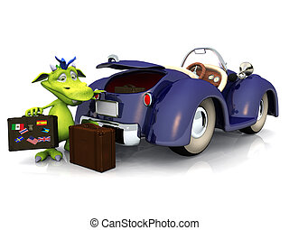 Cute cartoon monster going on a car trip. - A cute friendly...