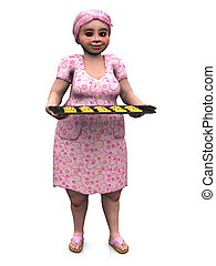 Chubby lady holding baking tray with cookies. - A chubby...