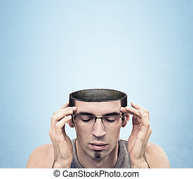 Image of a open minded man - Conceptual image of a open...