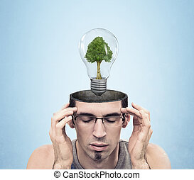 Open minded man with green energy