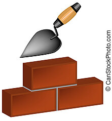 trowel and bricks - The trowel and bricks. Illustration in...