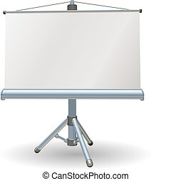Blank presentation or projector roller screen - A blank...