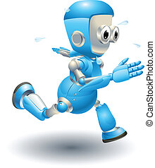 Cute blue robot character running