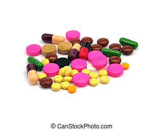pharmaceutical pills and capsules on a white background