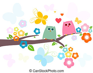 owls  - cute owls in love with flowery tree