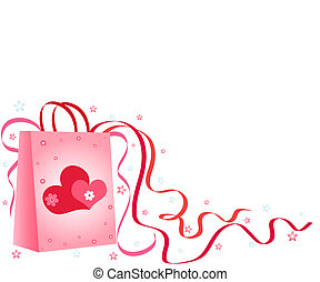 Gift bag with hearts