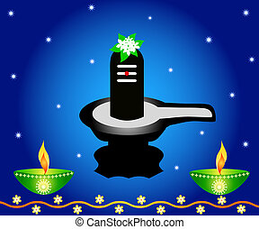 Indian God Shivalinga with lamps