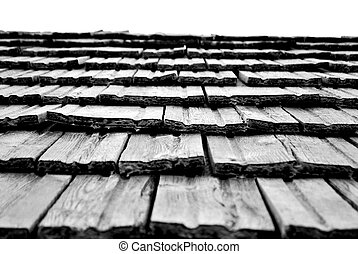 wooden roof of the houses typical alpine