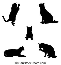 Cat Silhouettes - - Black silhouettes of a cat in various...
