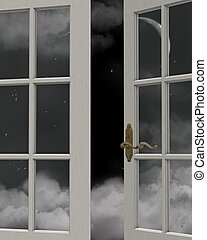 Night Time Sky Window View - View of a cloudy nighttime sky...