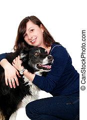 Woman and Border Collie - A beautiful woman with her full...