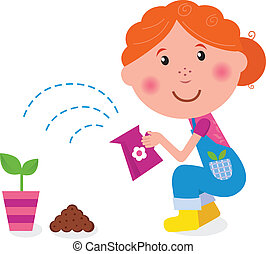 Small girl is watering plant