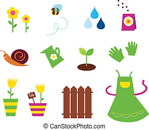 primavera, jardim, ícones,  &, natureza