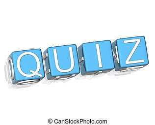 3D Quiz  green text on white background