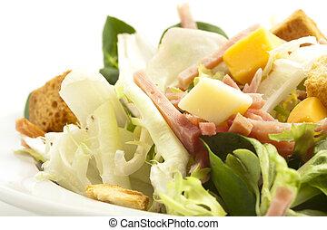 salad - ham, lettuce, cheese, crispy bread salad on white