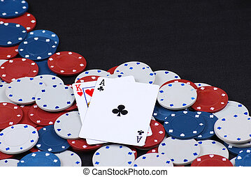 Black jack - Gambling chips with playing cards