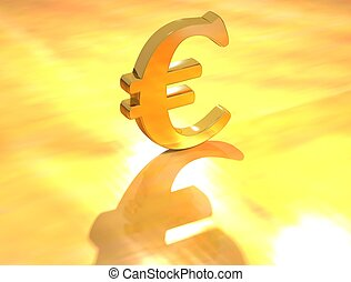 Euro Currency sign - 3D Currency Pound Euro Dollar on gold...