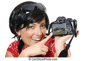 Cute photographer - A picture of a cute girl showing her...