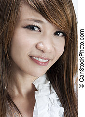 Cute Asians - Close up of cute young Asian female smiling