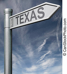 Texas road sign with clipping path - Texas road sign arrow...