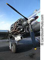 airplane engine - A DC3 engine exposed for repairs at the...
