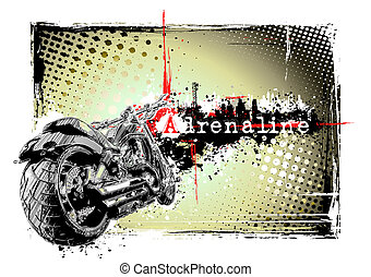 motorbike frame - illustration of the motorbike in the dirty...