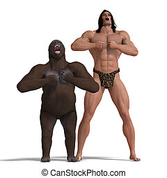 the apeman and the gorilla are ground friends. 3D rendering...