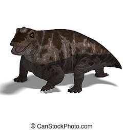 Dinosaur Keratocephalus. 3D rendering with clipping path and...