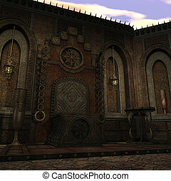 fantasy temple at dawn. 3D rendering of a fantasy theme for background usage.