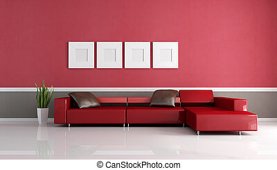 contemporary couch in minimalist lounge
