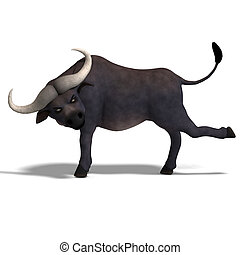 very cute and funny cartoon buffalo. 3D rendering with...