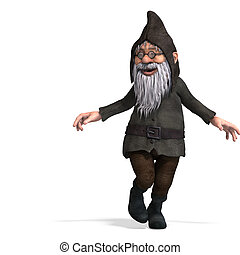 cute and funny cartoon garden gnome3D rendering with...