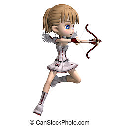 Lovely toon cupid sends you a valentine greeting. 3D...