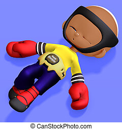 cute and funny childish cartoon boxer 3D rendering with...