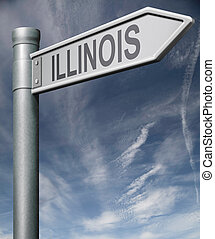 Illinois road sign usa states clipping path