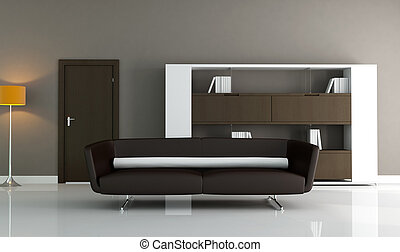 minimalist brown interior - brown couch and modern bookcase...